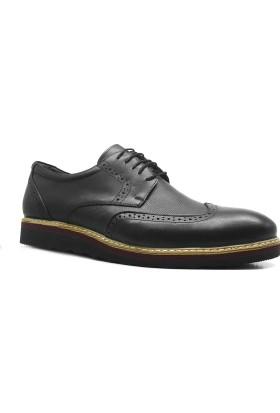 İzderi Shoes Hakiki Deri Siyah Büyük Numara Günlük Erkek Ayakkabı