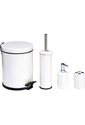 Hiper 4 Lü Beyaz Çöp Kovali Banyo Seti