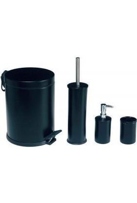 Hiper 4 Lü Siyah Çöp Kovali Banyo Seti