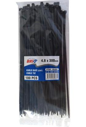 Brio Kablo Cırt Kelepçe Siyah 48X300 Mm 100 Lü