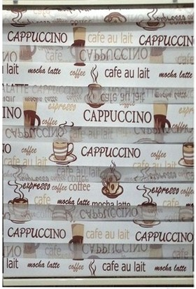 Zebraevim Kahve Cappucino Desenli Zebra Perde Etek Dilimli