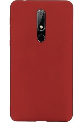 Gpack Nokia 7.1 Kılıfları Kılıf Premier Silikon Koruma + Nano Glass Kırmızı