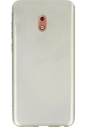 Gpack Nokia 3.1 Kılıfları Kılıf Premier Silikon Arka Koruma + Nano Glass Gold