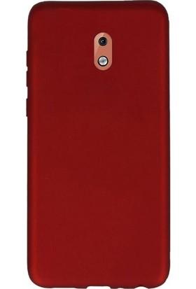 Gpack Nokia 3.1 Kılıfları Kılıf Premier Silikon Arka Koruma + Nano Glass Kırmızı