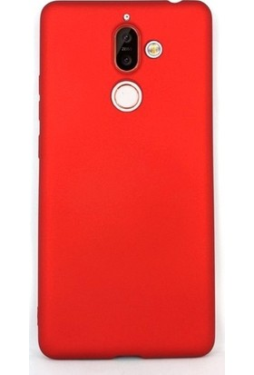 Gpack Nokia 7 Plus Kılıfları Kılıf Premier Silikon Koruma + Nano Glass Kırmızı
