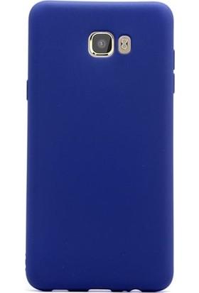 Kılıfist Samsung Galaxy C7 Kılıf C7000 Premium Mat Silikon Kılıf + Nano Cam Lacivert