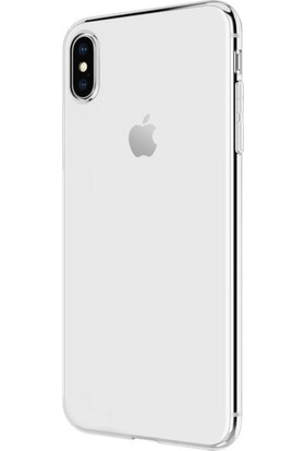 "Alaca iPhone XS Max 6.5"" Kılıf İnce Seffaf Silikon + 9H Esnek Nano Cam"
