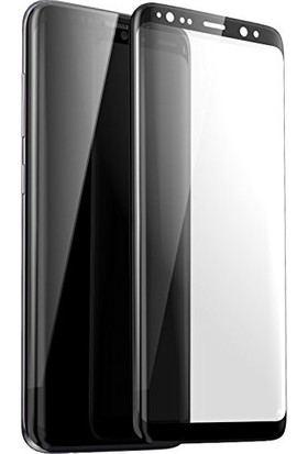AkseStore Samsung Galaxy S8 Plus Tam Yapışan 5D Full Cover Ekran Koruyucu Cam Siyah