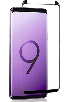 AkseStore Samsung Galaxy S9 Plus Tam Yapışan 5D Mini Ekran Koruyucu Cam Siyah
