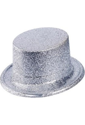PartiniSeç 1 Ad Gümüş Gri Simli Plastik Parti Şapkası Yılbaşı Doğum Günü vb.