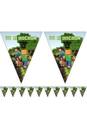 PartiniSeç 1 Ad Yeşil 10 Bayraklı Minecraft Flama Erkek Doğum Günü Malzemesi