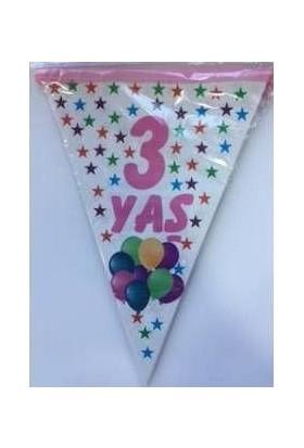 PartiniSeç 1 Adet 3 Yaş Bayrak Flama Pembe Kız Doğum Günü 2. 2 Metre