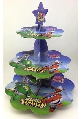 PartiniSeç 1 Adet Harika Kanatlar Cupcake Kek Standı, 3 Katlı Karton Stand