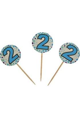 PartiniSeç 20 Adet 2 Yaş Sunum Kürdanı Erkek Doğum Günü Parti Malzemesi .