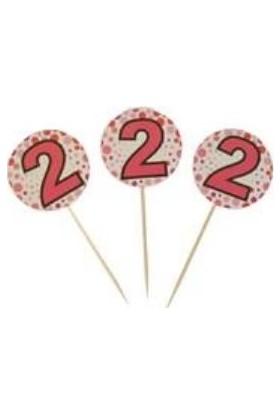 PartiniSeç 20 Adet 2 Yaş Sunum Kürdanı Kız Doğum Günü Parti Malzemesi