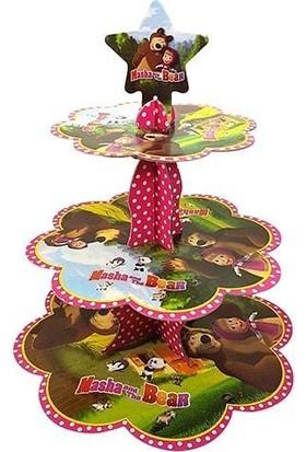 PartiniSeç 3 Katlı Maşa ile Koca Ayı Karton Stand, Cupcake Kulesi Kek Standı