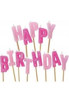 PartiniSeç Happy Birthday Pembe Simli Şık Pasta Mumu