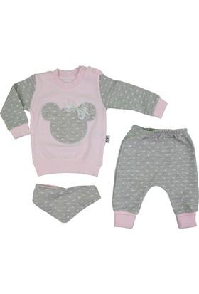 Elci Mickeyli Fularlı 3'lü Bebek Takım Pembe