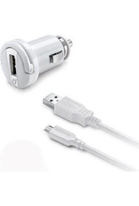 Cellularline Micro USB Araç Şarjı 2A - Beyaz (Kablo+Adaptör)