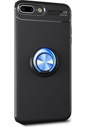 Casestore iPhone 8 Plus Araç İçi Manyetik Mıknatıslı Yüzüklü Silikon Kılıf + Ekran Koruyucu Cam - Siyah - Mavi