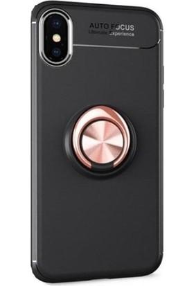 Casestore iPhone XS 5.8 Araç İçi Manyetik Mıknatıslı Yüzüklü Silikon Kılıf - Siyah - Rose Gold