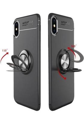 Casestore Huawei Mate 10 Lite Araç İçi Manyetik Mıknatıslı Yüzüklü Silikon Kılıf + Ekran Koruyucu Cam - Siyah - Rose Gold