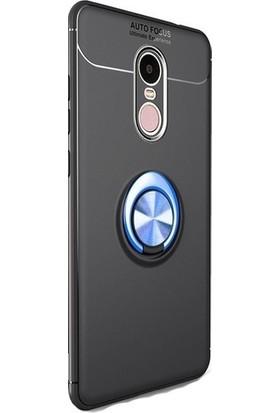Casestore Huawei Mate 10 Lite Araç İçi Manyetik Mıknatıslı Yüzüklü Silikon Kılıf + Ekran Koruyucu Cam - Siyah - Mavi
