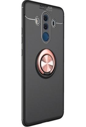 Ehr. Huawei Mate 10 Pro Kılıf Ultra Lüx Araç İçi Mıknatıslı Yüzüklü Kılıf - Siyah - Rose Gold