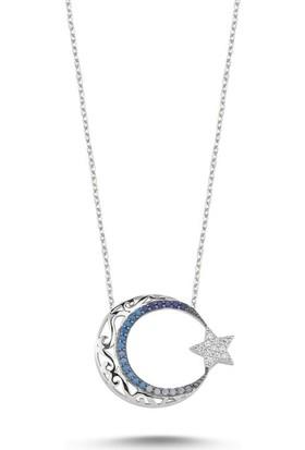 Angemiel 925 Gümüş Ajur Desenli Ve Nano Taşlı Ay Yıldız Kolye