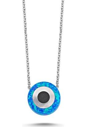 Angemiel 925 Gümüş Mavi Opal Göz Kolye