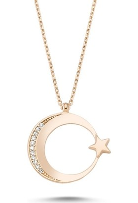 Angemiel 925 Gümüş Zirkon Taşlı Ay Yıldız Kolye - Altın Kaplama