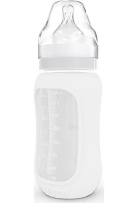 Ecoviking Tıbbi Silikon Kavramalı Ergonomik Borosilikat Cam Biberon 240 ml Beyaz