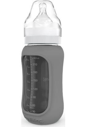 Ecoviking Tıbbi Silikon Kavramalı Ergonomik Borosilikat Cam Biberon 240 ml Gri