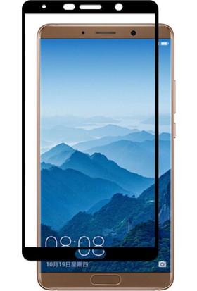 Microcase Huawei Mate 10 Tam Kaplayan Çerçeveli Tempered Ekran Koruyucu - Siyah