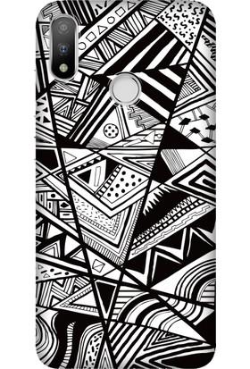 Cekuonline Casper Via A3 Plus Desenli Esnek Silikon Telefon Kapak Kılıf - Siyah/Beyaz