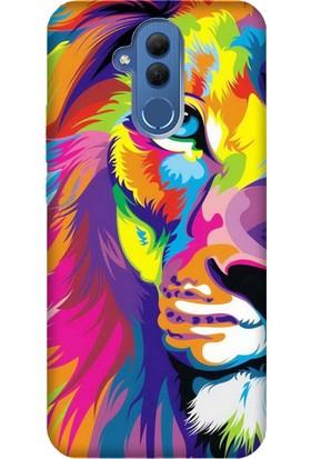 Cekuonline Huawei Mate 20 Lite Desenli Esnek Silikon Telefon Kapak Kılıf - Aslan Sanat