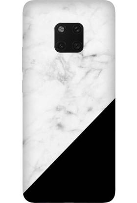 Cekuonline Huawei Mate 20 Pro Desenli Esnek Silikon Telefon Kapak Kılıf - Siyah Beyaz Mermer