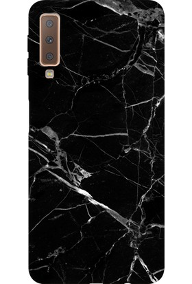 Cekuonline Samsung Galaxy A7 2018 A750F Desenli Esnek Silikon Telefon Kapak Kılıf - Mermer Siyah