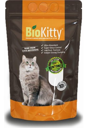 Biokitty Bentonit Kalın Taneli Kedi Kumu Ultra Topaklanan Tozsuz Kokusuz 10 Litre