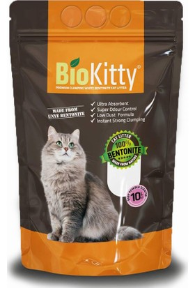 Biokitty Bentonit Kalın Taneli Kedi Kumu Ultra Topaklanan Tozsuz Bebek Pudralı Kokulu 10 Litre
