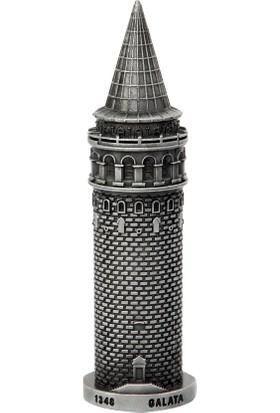 Galata Kulesi Metal Mini Biblo Gümüş (7 cm)