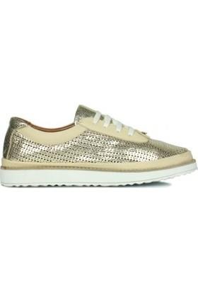 Erkan Kaban 231013 721 Kadın Altın Deri Ayakkabı