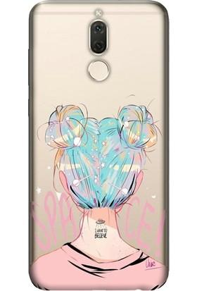 Cekuonline Huawei Mate 10 Lite Desenli Esnek Silikon Telefon Kapak Kılıf - Uzaydan Gelen Kız