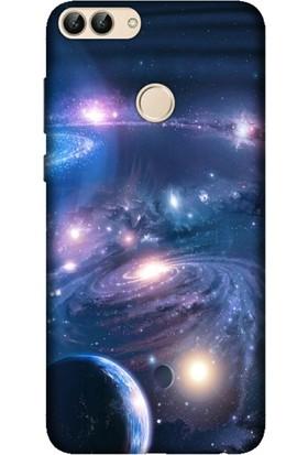 Cekuonline Huawei P Smart Desenli Esnek Silikon Telefon Kapak Kılıf - Uzay Boşluğu
