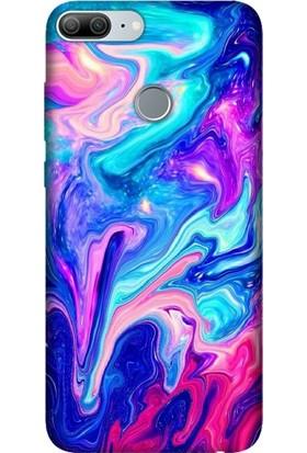 Cekuonline Huawei Honor 9 Lite Desenli Esnek Silikon Telefon Kapak Kılıf - Mavi Pembe İlizyon