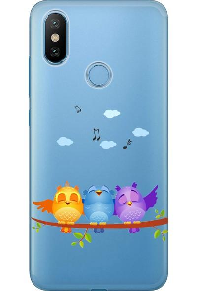 Cekuonline Xiaomi Mi A2 Desenli Esnek Silikon Telefon Kapak Kılıf - Kuşlar