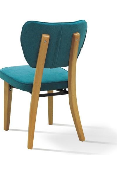 Evmazon Hazel Sandalye 2 Adet Mavi Kumaş Natürel Ahşap Ayak