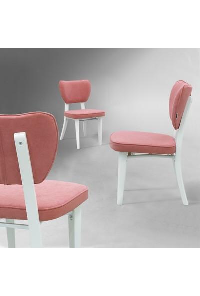 Evmazon Hazel Sandalye 2 Adet Pembe Kumaş Beyaz Ahşap Ayak