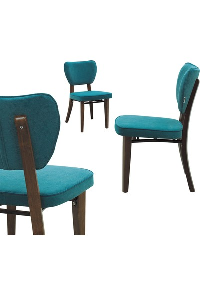 Evmazon Hazel Sandalye 2 Adet Mavi Kumaş Ceviz Ahşap Ayak