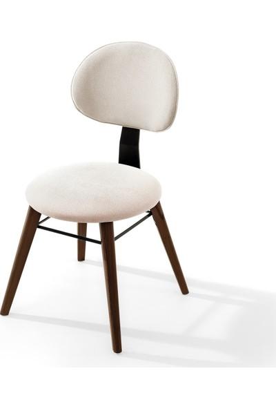 Evmazon Moıra Sandalye 2 Adet Beyaz Kumaş Ceviz Ahşap Ayak